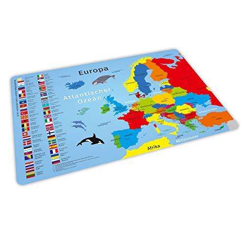 stabiles Vinyl Tischset mit Lerneffekt für Kinder - Europa mit Flaggen & Hauptstädten - Platzdeckchen Platzset - BPA frei - abwaschbar reißfest farbecht