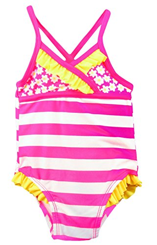Baby Girls 1-Piece Ruffle Swimsuit - UPF 50 Protection (12 Months)