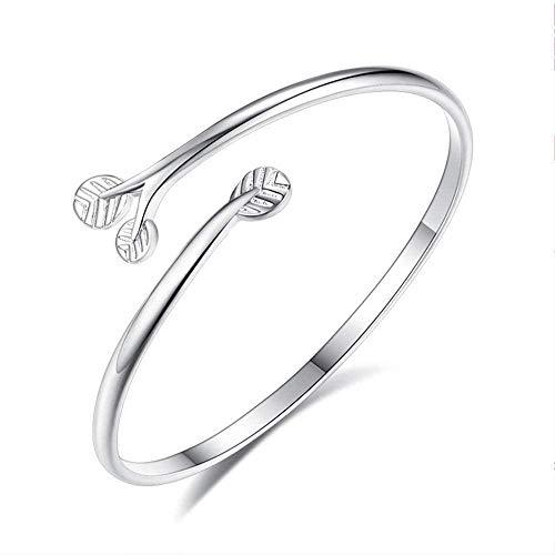 NC83 Pulsera de plata para mujer, pulsera ajustable con rama de árbol, brazalete de apertura para niñas, amantes de la joyería de verano