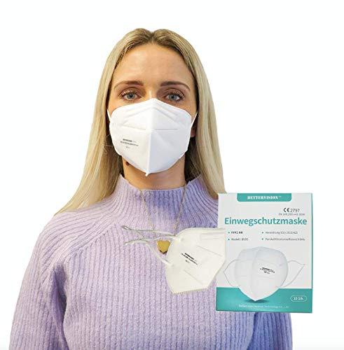 10x FFP2 Premium Atemschutzmasken I CE 2797 I Einzelverpackt I Anpassbare Flexible Ohrschlaufen + Nasenbügel I von BETTERVISION
