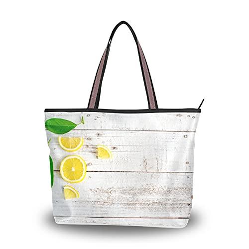 NaiiaN Einkaufstasche Umhängetaschen Leichte Riemenhandtaschen für Mutter Frauen Mädchen Damen Student Bio Zitrone und Scheiben mit Blatt Holz Tisch Geldbörse Einkaufen