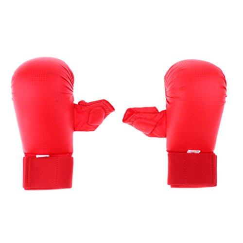perfeclan 1 Paio di Guanti Imbottiti PU Karate Sparring MMA Mudo Judo Taekwondo - Rosso, S