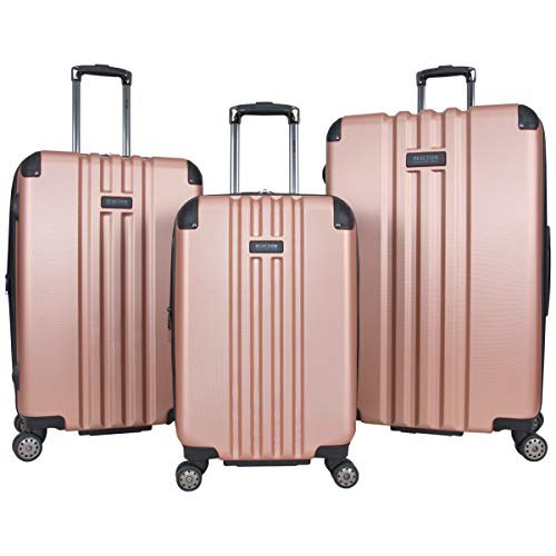 Kenneth Cole Reaction Reverb Hardside 8-Wheel 3-Piece 20' Carry-on, 25', 29' Luggage Set, Rose Gold,