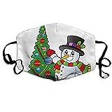 GJKK Weihnachten Mundschutz Bunt schön mit Schneeflocke Motiv Mundschutz Waschbar Verstellbar Unisex Wiederverwendbar Atmungsaktiv Mund und Nasenschutz (1)