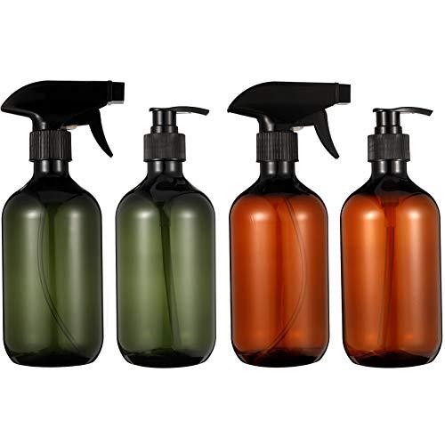 Botellas de Spray,4 Piezas Botellas de Champú 500 ml Botellas de Spray Vacías de Plástico para Aceites Esenciales, Limpieza, Cocina, Jardín, Pelo