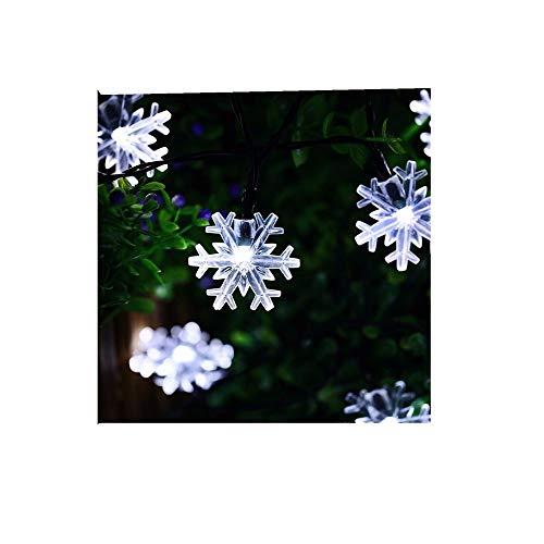ODJOY-FAN 2 m 20 LED LED Schneeflocke Farbe Licht Weihnachten Laternenpfahl Draussen Zeichenfolge Licht Garten Schnee Kopf Fee Lampe Solar Energie String Light (Weiß,1 PC)