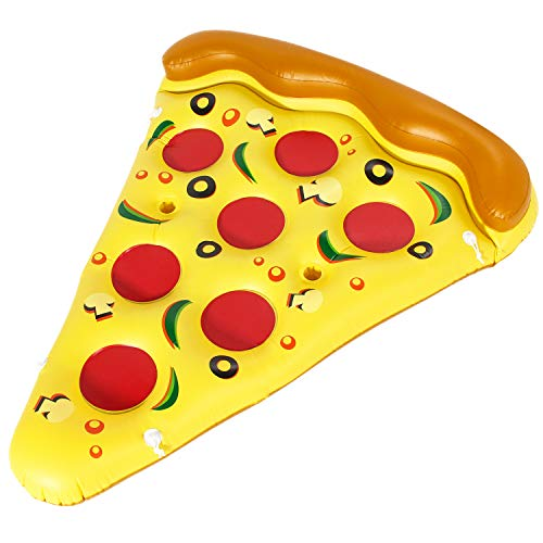 BLEWINDZ Giant Inflable Pizza Slice Pool Float Floatie with Cup Holders, XL Outdoor Water Fun Pool Floaties Party Decorations Summer Swimming Pool Raft Lounge Beach Floaty Party Toys for Kids Adults
