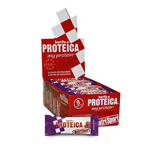 NUTRISPORT CLINICAL NUTRITION, S.A. Barritas Proteicas para Deportistas, Sabor Red Berries, 24 x 46 Gramos