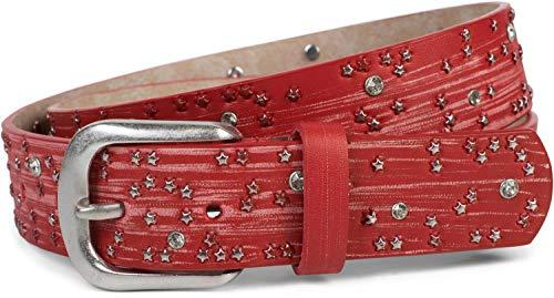 styleBREAKER Damen Gürtel mit Sternchen Nieten und Strass, Oberfläche in Pinselstrich Optik, Vintage Nietengürtel, kürzbar 03010096, Farbe:Rot, Größe:100cm