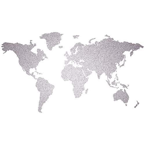 murando - SILBER KORK WELTKARTE PINNWAND & KREIDETAFEL - SELBSTKLEBEND! 140x75 cm aus 100% NATURKORK & HANDBEMALT - KORKTAFEL - XL FORMAT k-A-0102-u-a