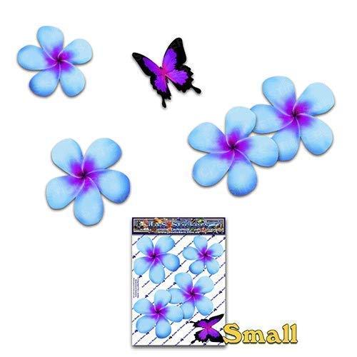 JAS Stickers® Frangipani Blume Schmetterling Auto Aufkleber - Blau - Plumeria Tier Tropisch Klein Vinyl Aufkleber Pack Für Laptop Gepäck Fahrrad Wohnwagen Van Wohnmobile LKW & Boote - ST00024BL_SML