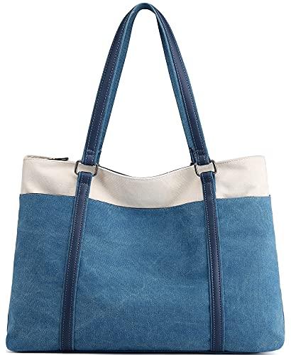 Scioltoo Laptop-Tasche, Schultertasche, Canvas, für Arbeit, Handtasche, Blau (A-Blau), Einheitsgröße