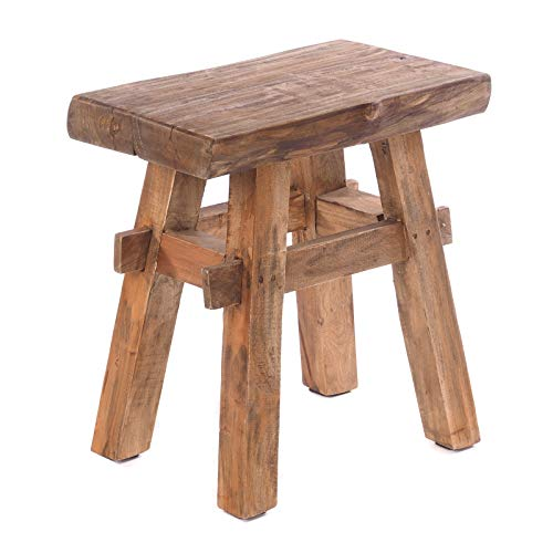 DESIGN DELIGHTS RUSTIKALER Holz HOCKER Vintage 40' | Recycling Hartholz, 43x45x27 cm (HxBxT) | Sitzhocker aus Massivholz, Schemel | Farbe: 01 Natur-Vintage