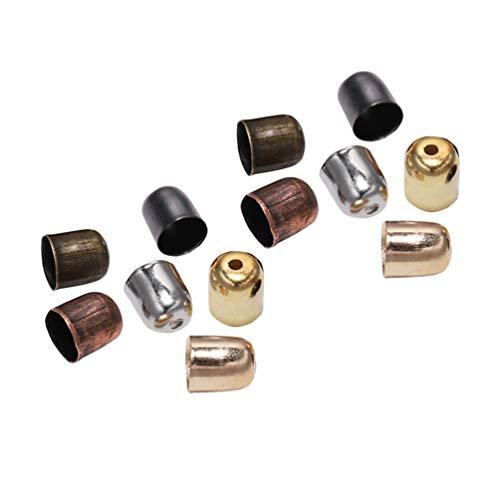 Heallily - Lote de 300 tapones de metal para creación de joyas - Tapones de piel para manualidades, collares, borlas, etc., 5 x 4 mm