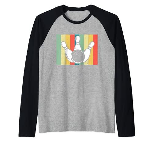 Vintage Bowling Bowler Pin Sunset Stripes Retro Bowling Team Camiseta Manga Raglan