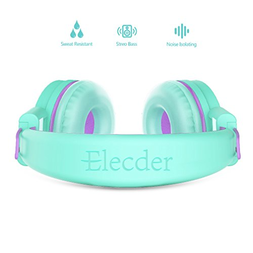 Elecder i37 Kids Headphones Children Girls Boys Teens Foldable Ad   justable On Ear Headphones 3.5mm Jack Compatible iPad Cellphones Computer MP3/4 Kindle Airplane School Tablet Green/Purple