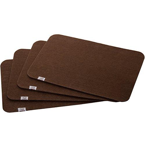 lana naturalis® Exclusive Filz Platzset für 4 Personen Tischset Platzmatten für Ihren Glastisch Holztisch Gartentisch (Braun)