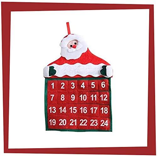 Gesar Calendario dell'Avvento da Appendere - 24 Tasche da riempire con Piccoli Oggetti, Dolci e cioccolatini - Ideale per i Bambini - Bellissimo Calendario con Numeri in Attesa del Natale