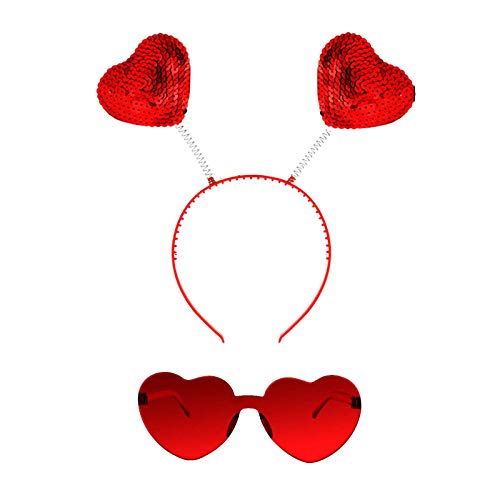 Valentines Heart Headband and Heart Sunglasses Cupid Headband Bopper Party Accessoires for Valentine's Day Halloween
