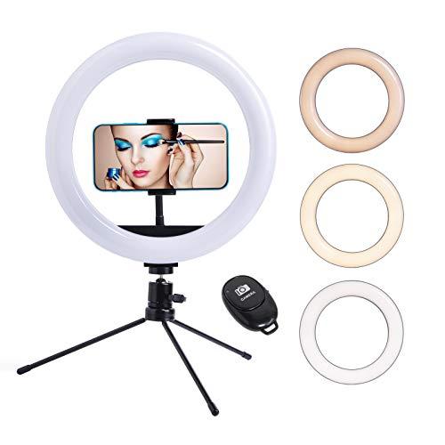 Fufly - Anillo de luz con soporte para selfies (25,4 cm, regulable, con soporte para teléfono y vídeo, transmisión en vivo, maquillaje, fotografía, compatible con iPhone/Android