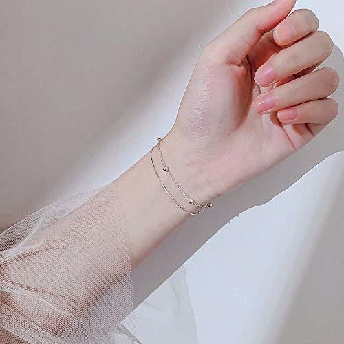 YHYGOO Neue Art und Weise Frauen Double-Deck-Armband & Bangle Charm 925 Sterling Silber Armband Einstellbar Hochzeit Fine Jewelry | Armschmuck |