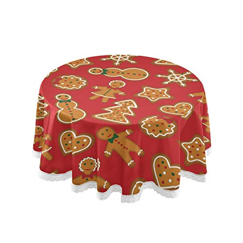 Pfrewn Christmas Gingerbread Man Round Tablecloth Snowflake Table Cloth Cover Mat Lace Washable Polyester 60' Dining Decorative for Holiday Home Party Wedding Picnic