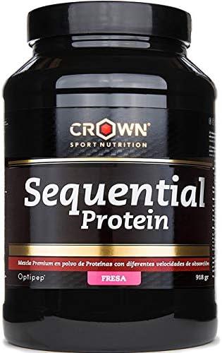 Crown Sport Nutrition Sequential Protein, Suplemento de proteína para antes de dormir para Deportistas, Sabor de Fresa - 918 gr