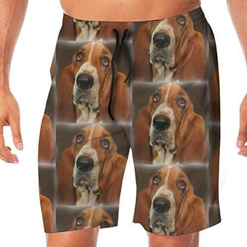Baset Hound Portrait Surfing Pocket Elastic Waist Men's Beach Pants Shorts Beach Shorts Swim Trunks X-Large