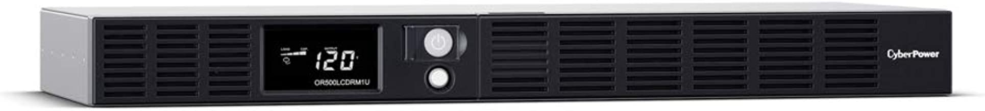 CyberPower OR500LCDRM1U Smart App LCD UPS System, 500VA/300W, 6 Outlets, AVR, 1U Rackmount