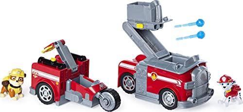 PAW Patrol, Marshall Split-Second Vehículo de camión de Bomberos Transformador 2 en 1 con 2 Figuras coleccionables