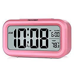 PEAKEEP Smart Night Light Digital Alarm Clock with Indoor Temperature, Battery Operated Desk Small Clock (Pink)