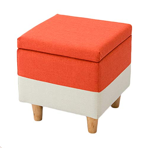 LIXIONG Ottoman, Linen Rectangle Storage Seat with Hinged Lid and Anti-Slip Pad Footrest Stool for Bedroom Study Room, 5 Style (Color : Orange, Size : 40x40x42cm)