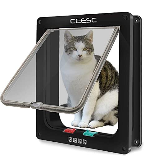 CEESC Puerta Grande para Gatos (tamaño exterior 28 cm x 24,9 cm), bloqueo de 4 vías para gatos y perros pequeños de circunferencia <63 cm, fácil de instalar y de usar