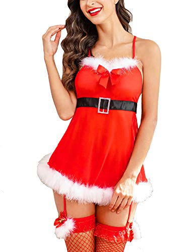 Avidlove Women Sexy Santa Outfit Red Christmas Babydoll Holiday Lace Chemise Nightie with G-String Red Small