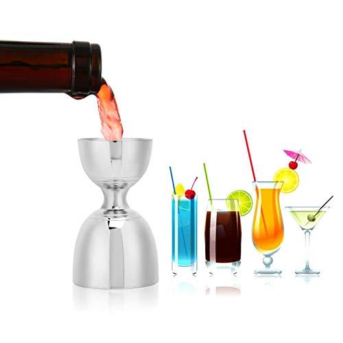 Uxsiya Coctel Jigger Acero inoxidable Bartending Tool Alcohol Gin Wine Shot Medición Mezclador Copa Shaker Bar Party Home Accesorio Picnic (Plata)