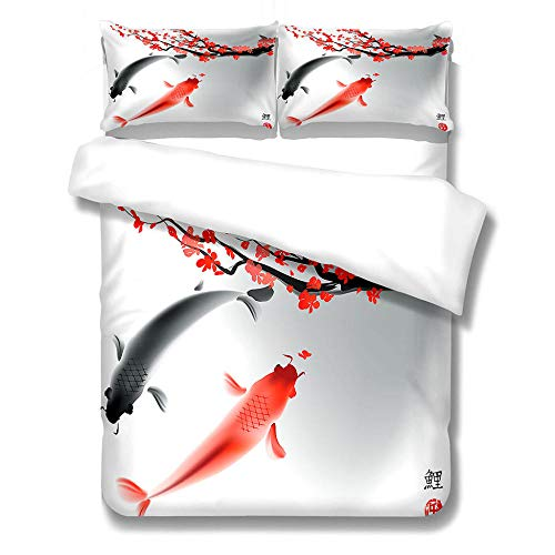 iCoCofly Bedding 3 Piece Bed Sheet Set - Easy Care Soft Brushed Microfibre Fabric -1 Duvet Cover with 2 Pillowcase - Shrinkage and Fade Resistant &Thick and Soft - Red plum and goldfish
