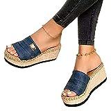 EVR Women Wedges Platform Slipper Summer Beach Front Slip On Sandals Bohemia Fashion Casual Leisure Wide Width Thick Bottom Open Toe Heeled Non-Slip Flip Flop Shoes,03,38
