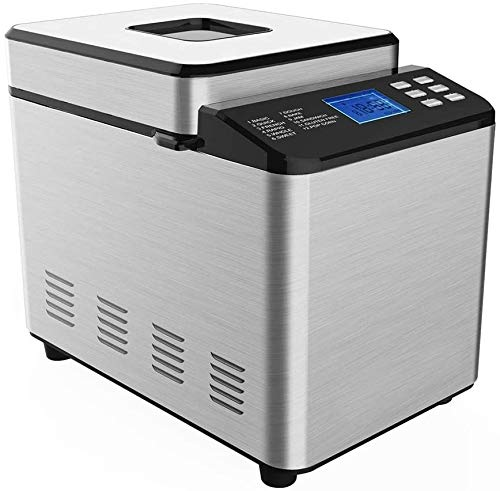 Bread Maker, Bread Machine, Compact Fast Breadmaker, Fully Automatic 550W, 304 Alloy Aluminum Plate Spray, 6 Buttons, 19 Menus, Power-Down Protection Function, Heat Preservation Function, LCD Display