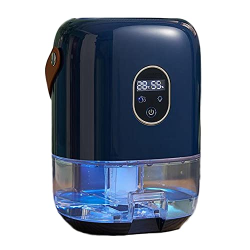 HXBH Deumidificatore piccolo 1L Deumidificatore muto con display per l'umidità Camera da letto familiare Bagno Seminterrato Deumidificazione e a prova di umidità/blu