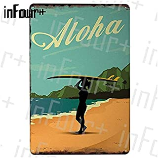 Surfing Poster Surf Metal Plate Tin Sign Plaque Metal Vintage Decor Metal Sign Metal Poster Home Bar Pub Cafe DecorAction Vintage Posters