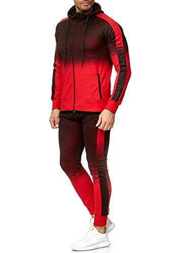 OneRedox | Herren Trainingsanzug | Jogginganzug | Sportanzug | Jogging Anzug | Hoodie-Sporthose | Jogging-Anzug | Trainings-Anzug | Jogging-Hose | Modell 1274 Rot
