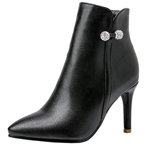 AIMODOR Damen High Heels Ankle Boots Spitze Stilettos Stiefeletten mit Pfennigabsatz Gefüttert Kurzstiefel schwarz 39