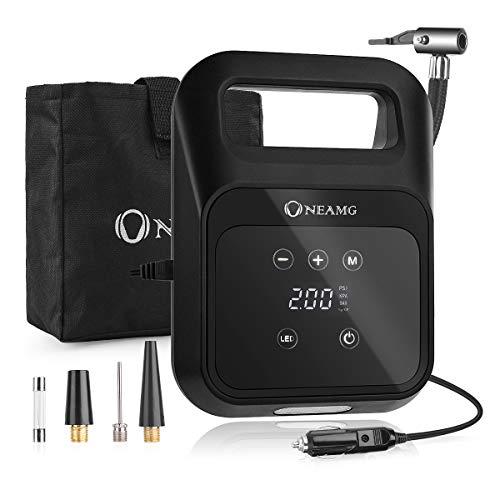 OneAmg Luftkompressor, 12V Auto Kompressor 150PSI Portable Auto Reifen Inflator, LED-Bildschirm, langes Kabel, Tragetasche, geeignet für Auto, Motorrad, Fahrrad, Ball.