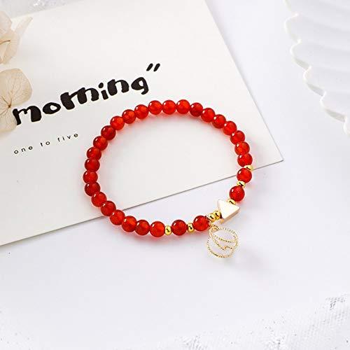 ZGRJIUERYI armband, natuurlijke rode zoete meisjesarmband met metalen wikkelkralen, eenvoudige persoonlijkheidsarmband, gepersonaliseerd kledingaccessoire