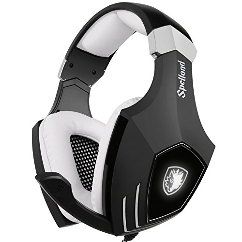 USB Gaming Headset-SADES A60/OMG Computer Over Ear Stereo Heaphones with Microphone Noise Isolating Volume Control LED Light (Black+White) for PC & MAC