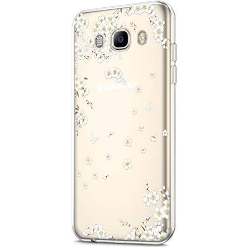 Compatibile con la custodia per Galaxy J5 2016, trasparente con design artistico, in silicone TPU, trasparente, motivo: fiori di ciliegio bianchi
