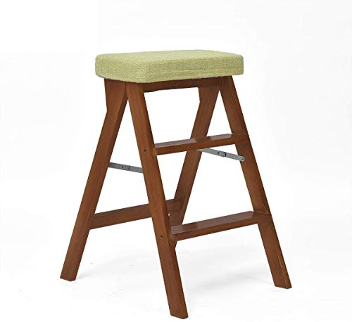 DY trapladder/trapladder niveau 3, loopvlak, houten reiniging stoel, vlas stof, hoogte uitgebreide zitting hoge kruk tuingereedschap 65 cm High Performance Max.120 kg In Brown