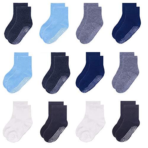 Yafane 12 Pares de Calcetines Antideslizantes para Niños Niñas Recien Nacido Unisex Pequeños Algodón Lindo con Puños Calcetines Antideslizantes para Bebés (Gris/Azul/Blanco/Negro, 3-5 años)