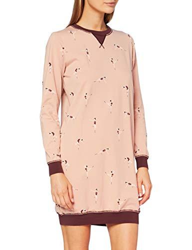 Skiny Damen Sleepshirt Langarm Nachthemd, mahoganyrose Ballerina, 38