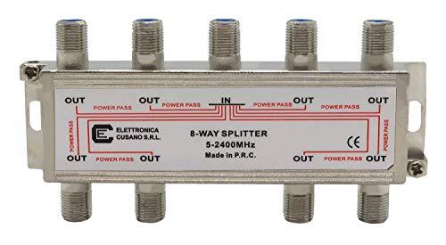6833 - Splitter Satellitare 8 Vie, Partitore Antenna Tv da Interno con Connettore F, Splitter Satellitare, Ripartitore Antenna Tv, Partitore Tv Sat, Distributore di Segnale Terrestre e Satellitare